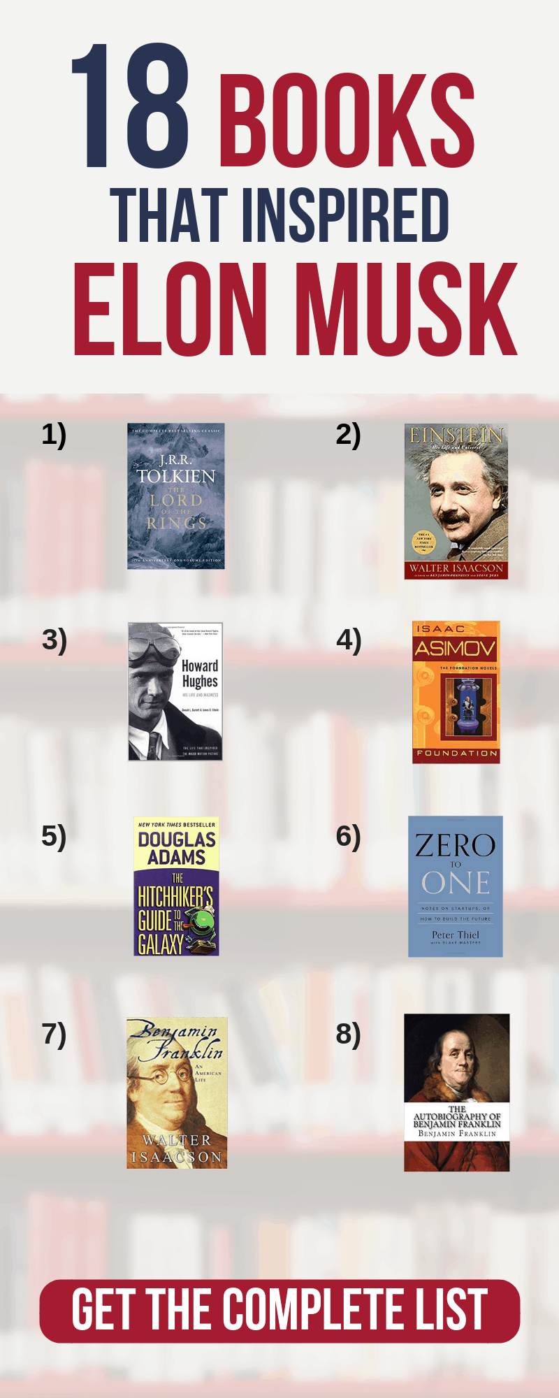 Elon Musk's Favorite Books: 18 Recommended BooksDiscover the 18 books he recommends, that shaped his thinking as a young adult to billionaire.books for entrepreneurs startups | best business books to read | business reading list#thewaystowealth #busienss #tesla #elonmusk #reading #readinglist