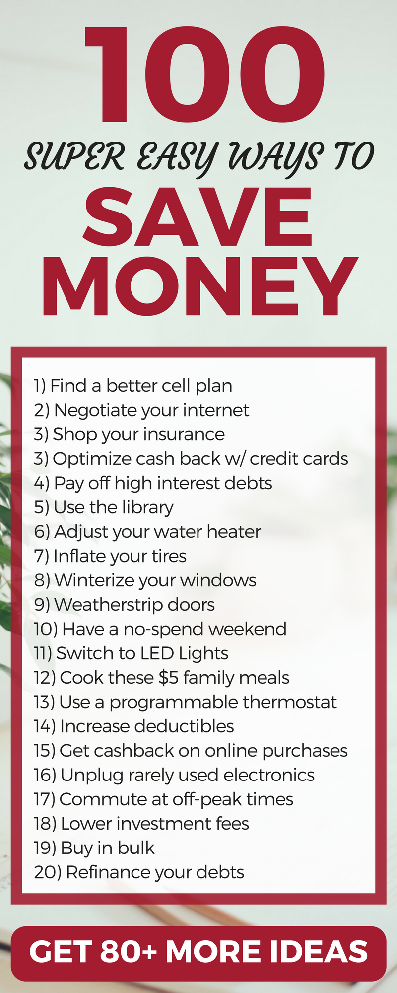 Wow! 100+ Ideas to save money and live frugally. Lots of great tips and strategies here. Money saving ideas | saving money | How to coupon | couponing | money saving tricks | budget #coupons #Deals #save #shopping #money #Cheap #finance #frugalliving #finances #budget