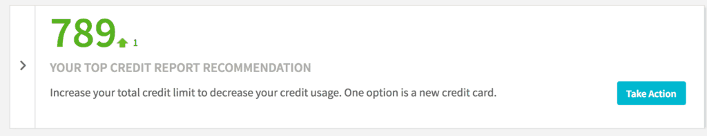 Screenshot of Credit Sesame credit score analysis