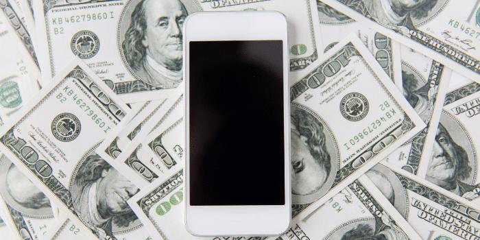 smartphone cash money background