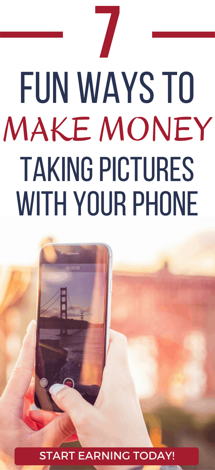 Need some extra cash? Here's 7 ways to get paid to take pictures with you. Discover how you can earn money today! make money with your smartphone | apps that make you money | apps that make you money iphone | apps that make you money android | smartphone apps that pay #photographer #moneymaker #apps #earnmoney