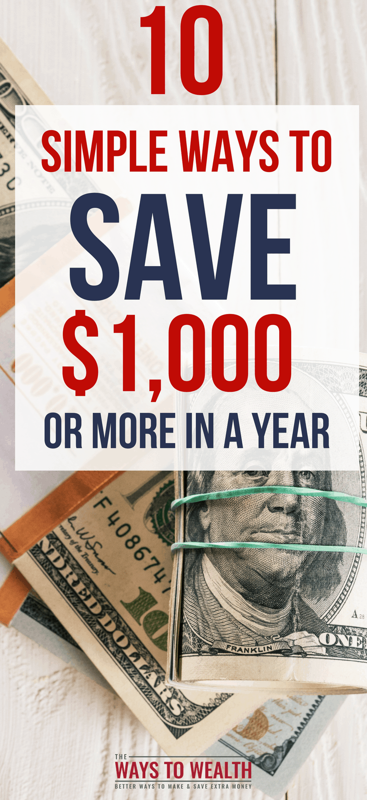 10 Quick & Easy Ways To Save $1,000 in a Year  Want to save $10,000 in a year? Here's 10 surprisingly simple things you can do, that will each save you $1,000 in a year.   how to save 10000 in a year | ways to save 1000 |   #thewaystowealth #savemoney #frugal