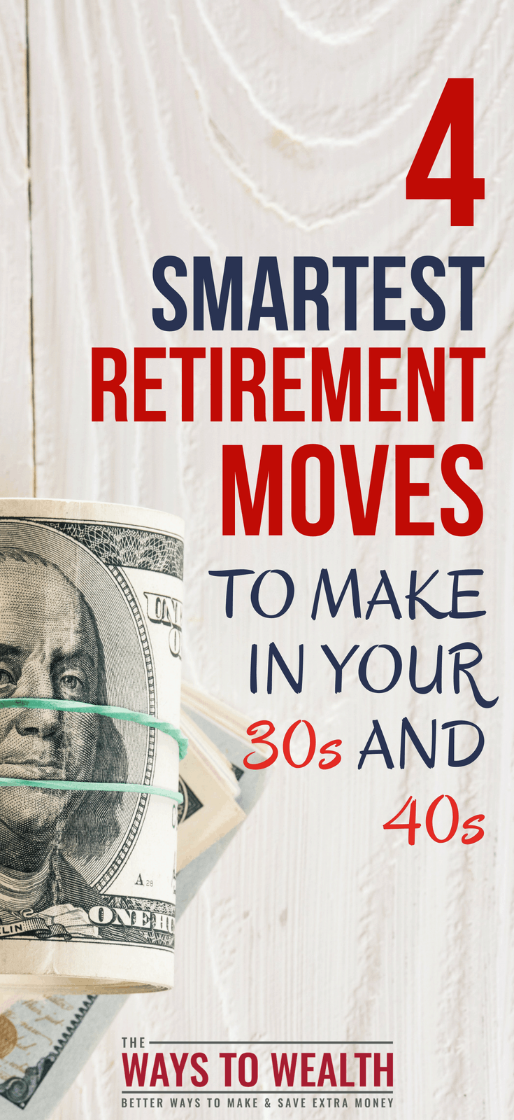 The 4 Smartest Retirement Moves to Make in Your 30s and 40s  money tips in your 30s | financial goals in your 30s | best investments for 30 somethings | financial advice for 30 year olds | best investment strategy for 35 year old | financial goals for your 40s | financial advice for 40 somethings | this is how your finances should look in your 40s | investing in your 40s | personal finance at 40 | how much should i be saving for retirement in my 40s | retirement planning tips | retirement goals by age  #ad #thewaystowealth #retirement #savingmoney #investing
