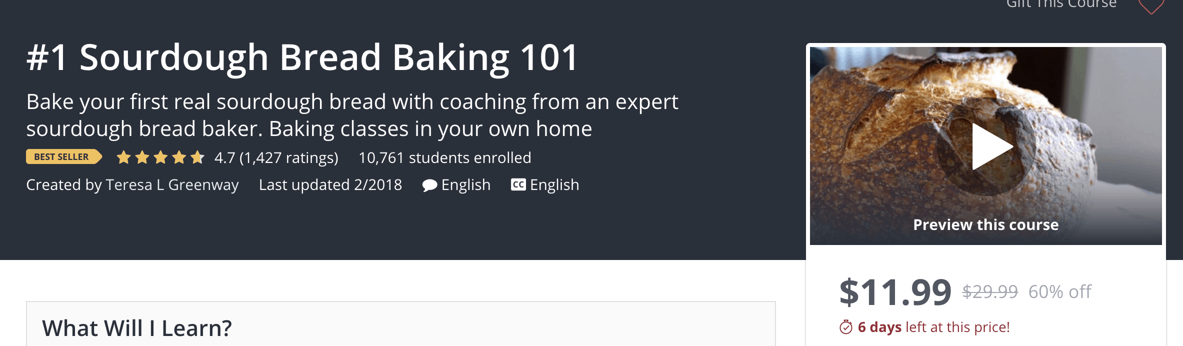 creating online course udemy sourdough bread