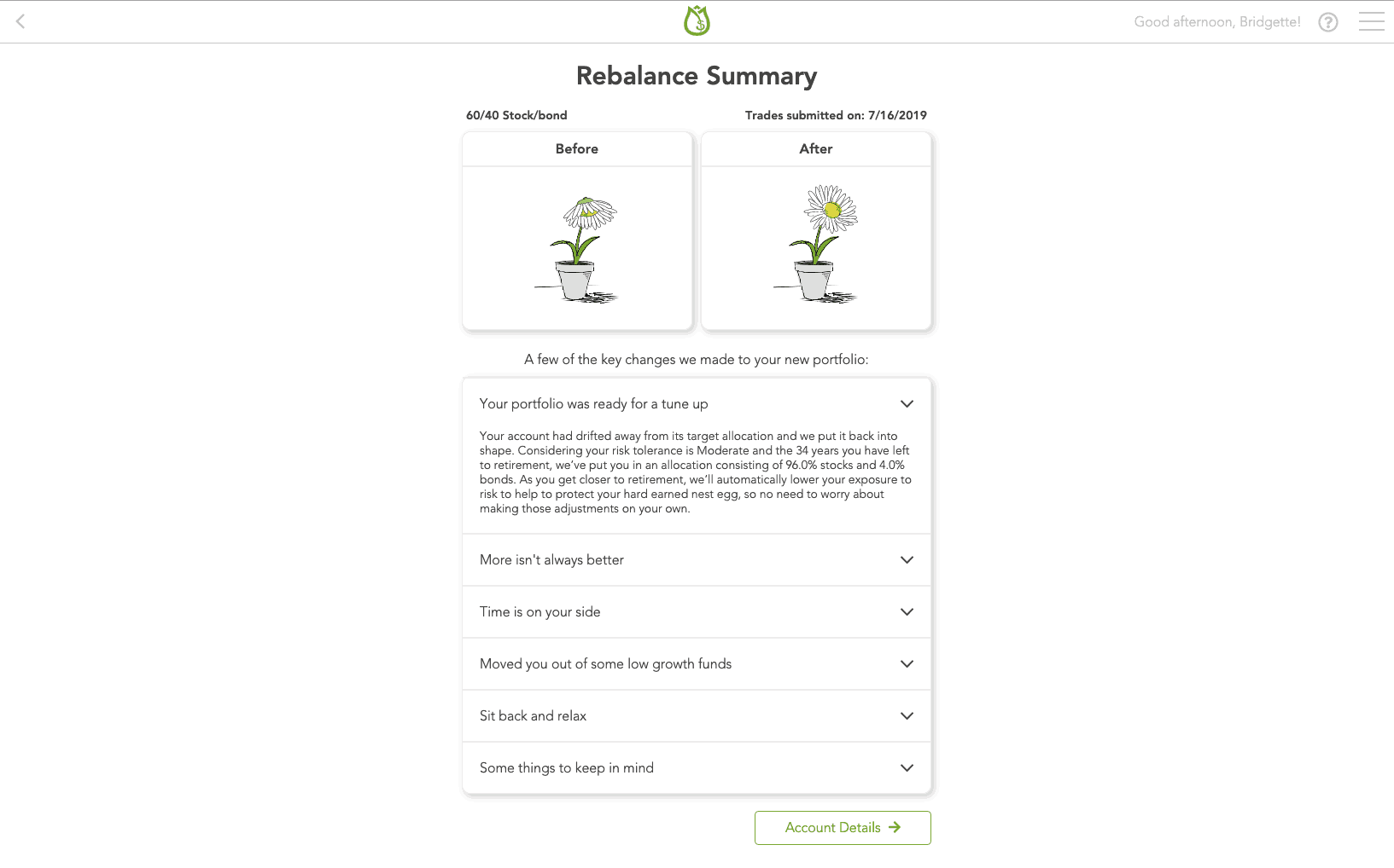 Rebalance Summary Screenshot from Blooom