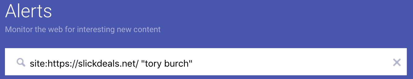 Tory Burch Google Alert