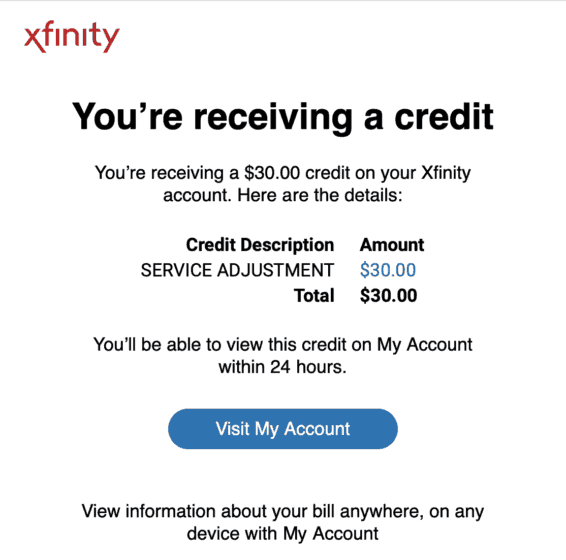 Trim Financial Manager Comcast Savings Screenshot