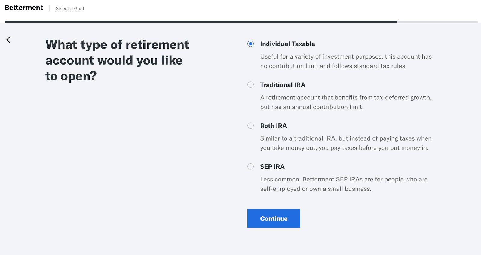 Betterment - Retirement Account Options
