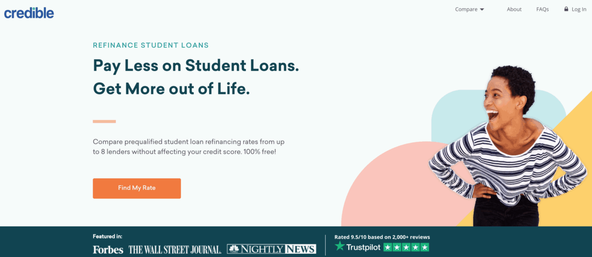 Student loan refinancing by Credible