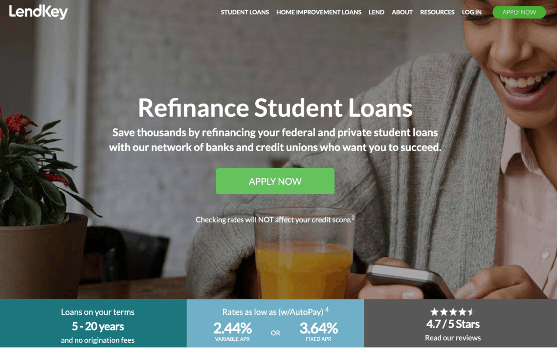 Refinance your student loans with LendKey