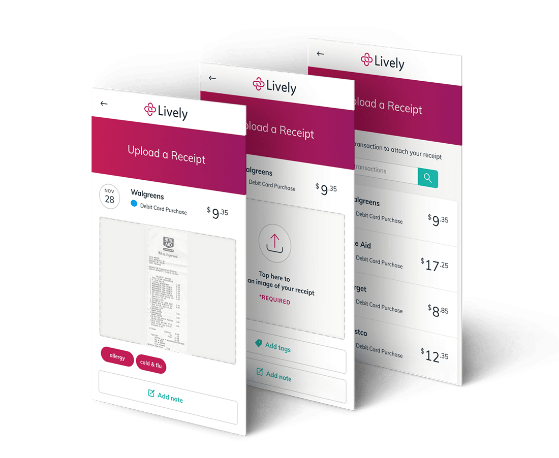 Save receipts via the Lively HSA App