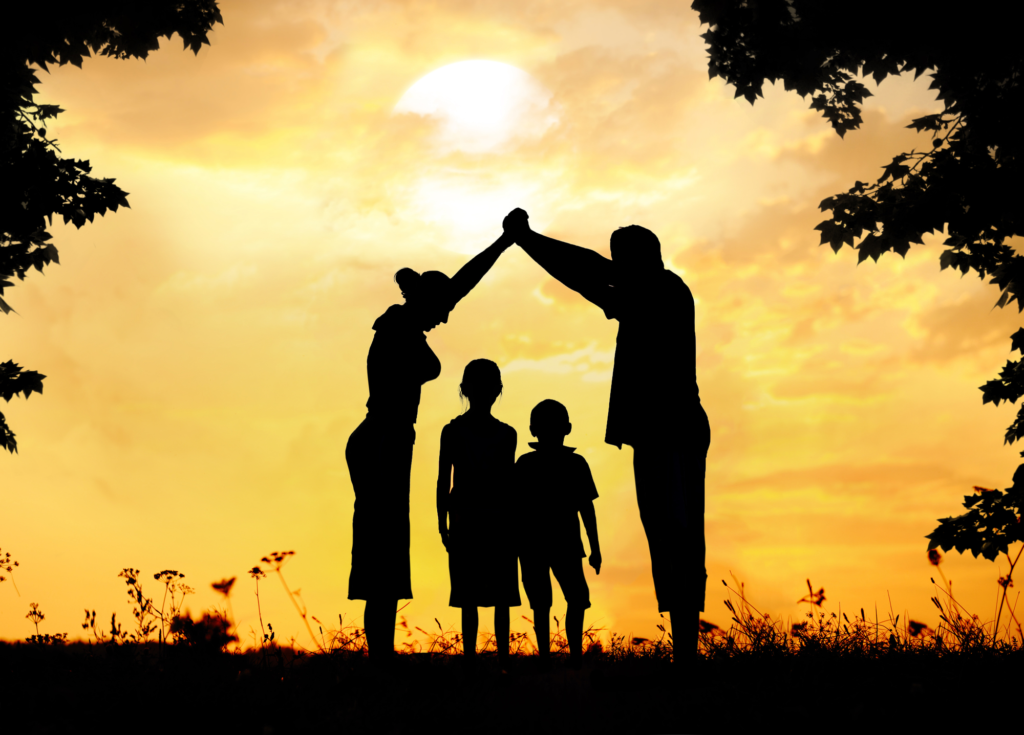 A family during sunset