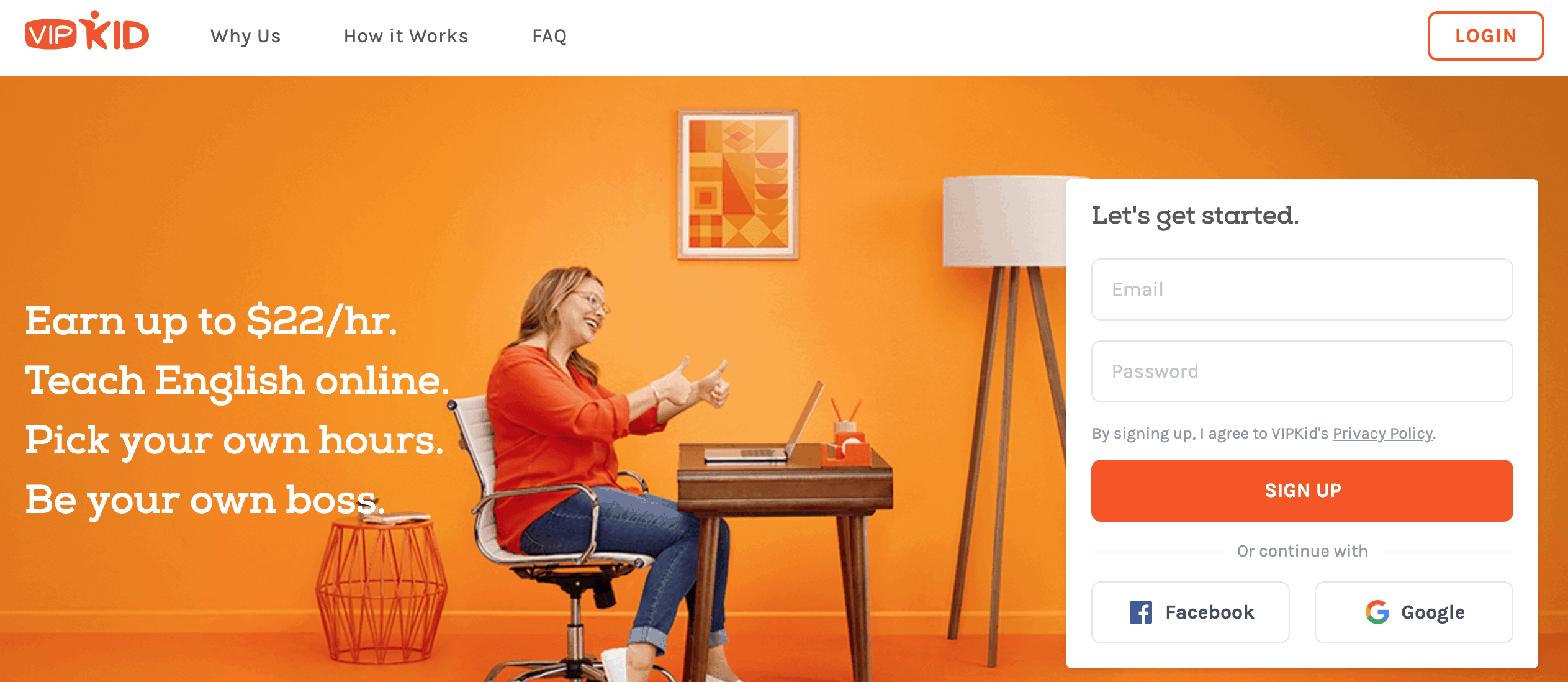 VIPKid Sign-Up Page