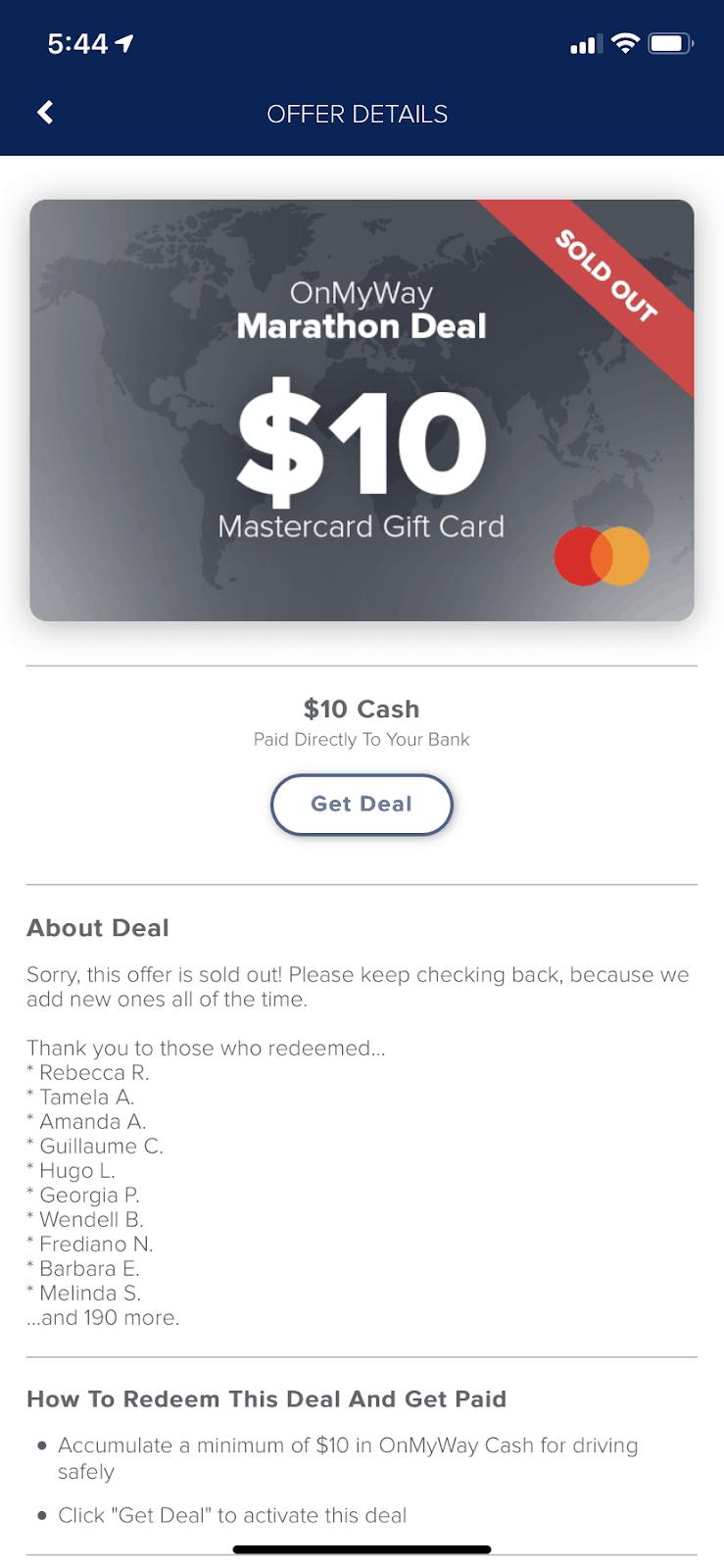 OnMyWay Cash Marathon Deal Screenshot