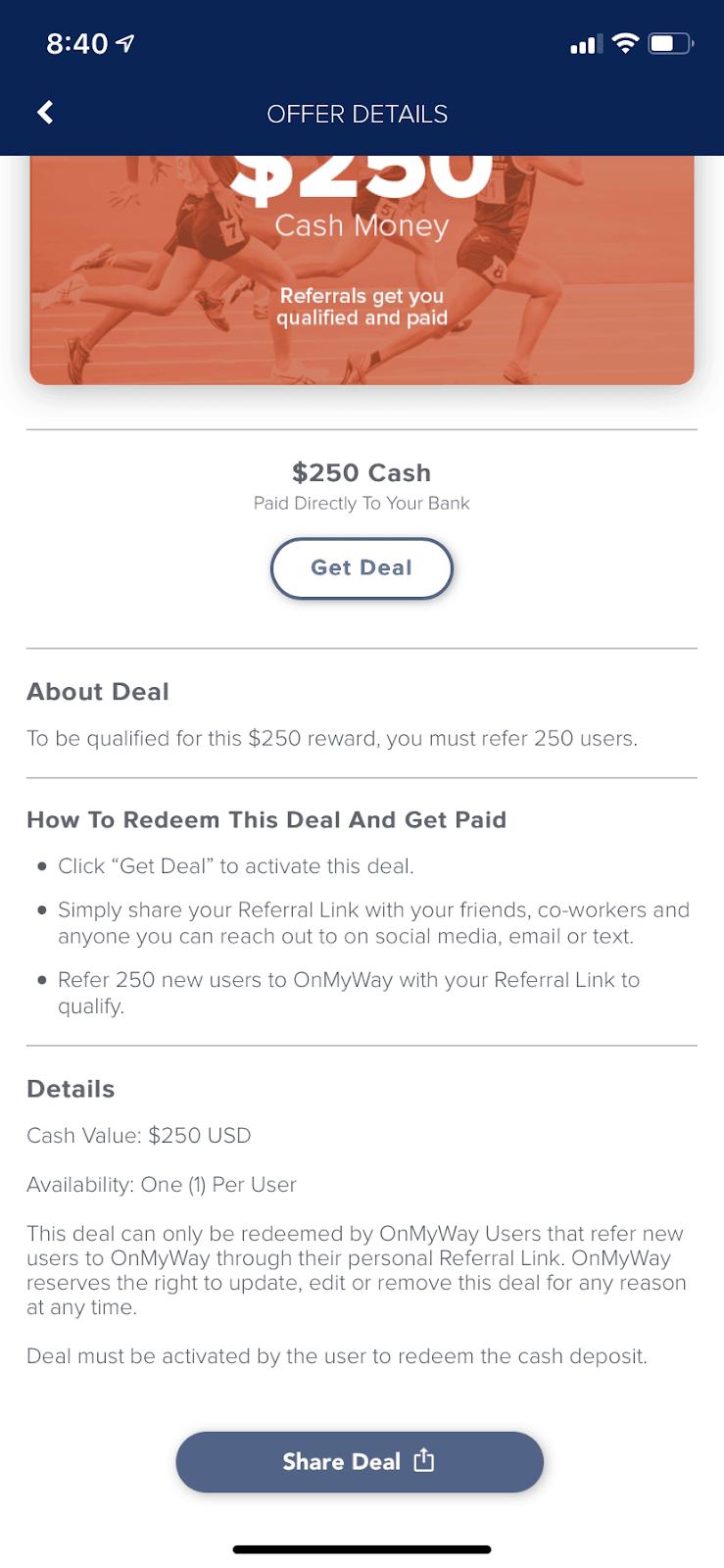 OnMyWay App Marathon Deal