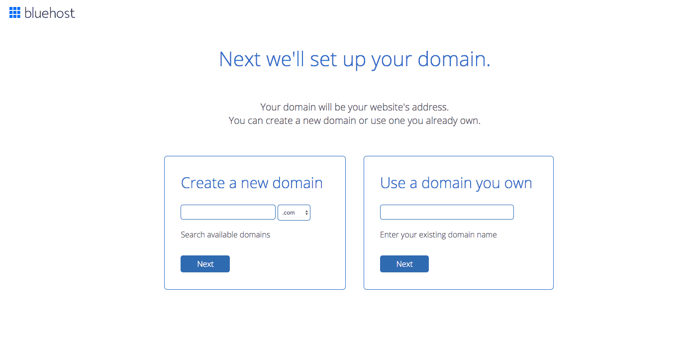 Bluehost - Choose a Domain Name