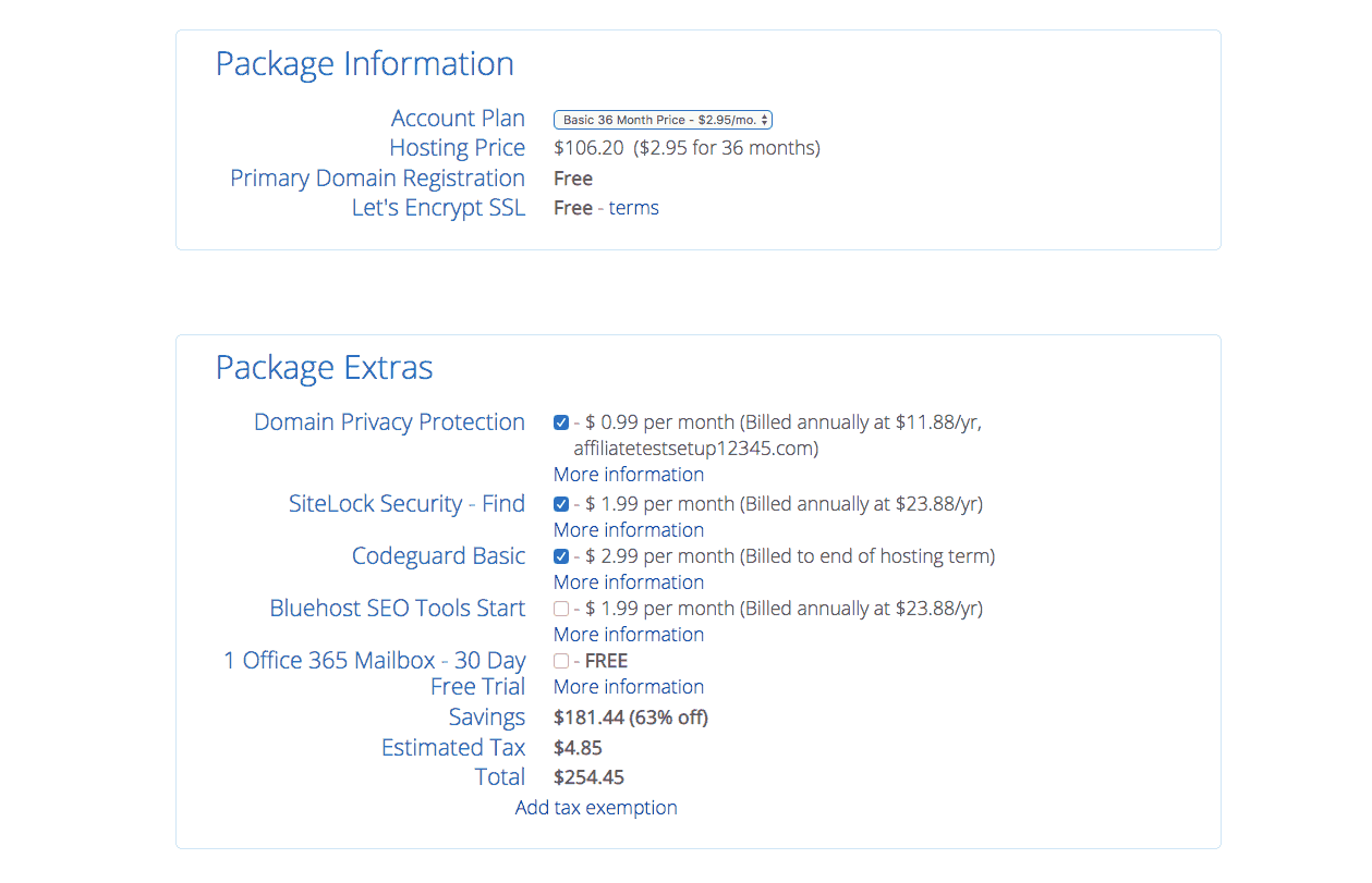 Bluehost - Choose package options