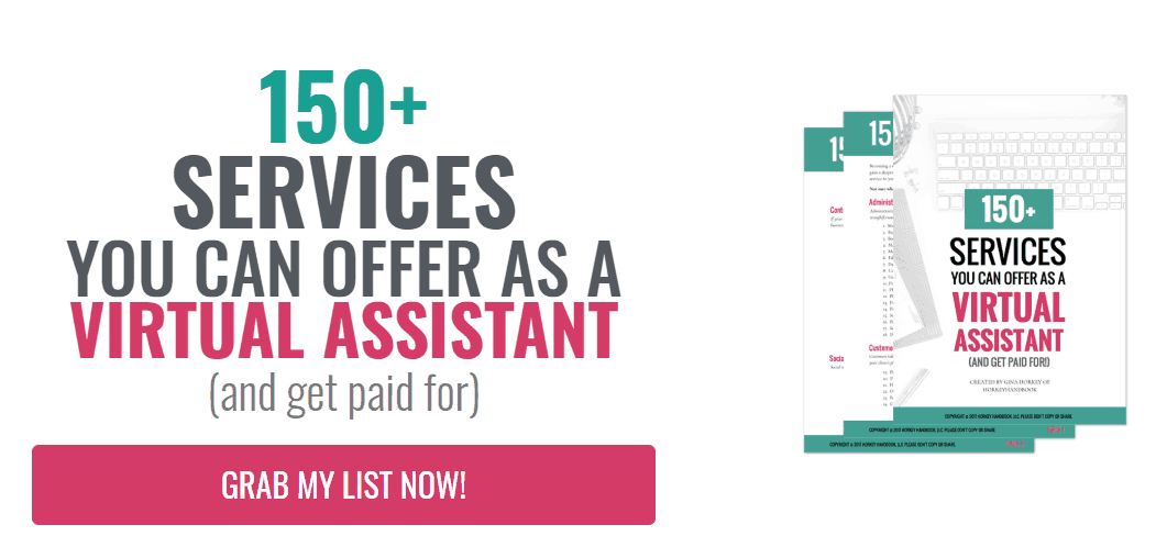 handbook with 150+ services you can offer as a virtual assistant