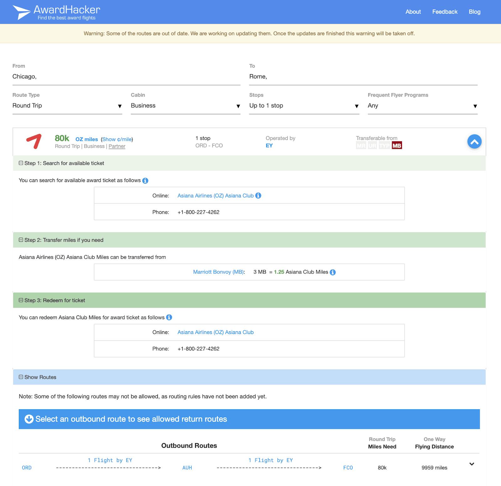 AwardHacker Flight Options