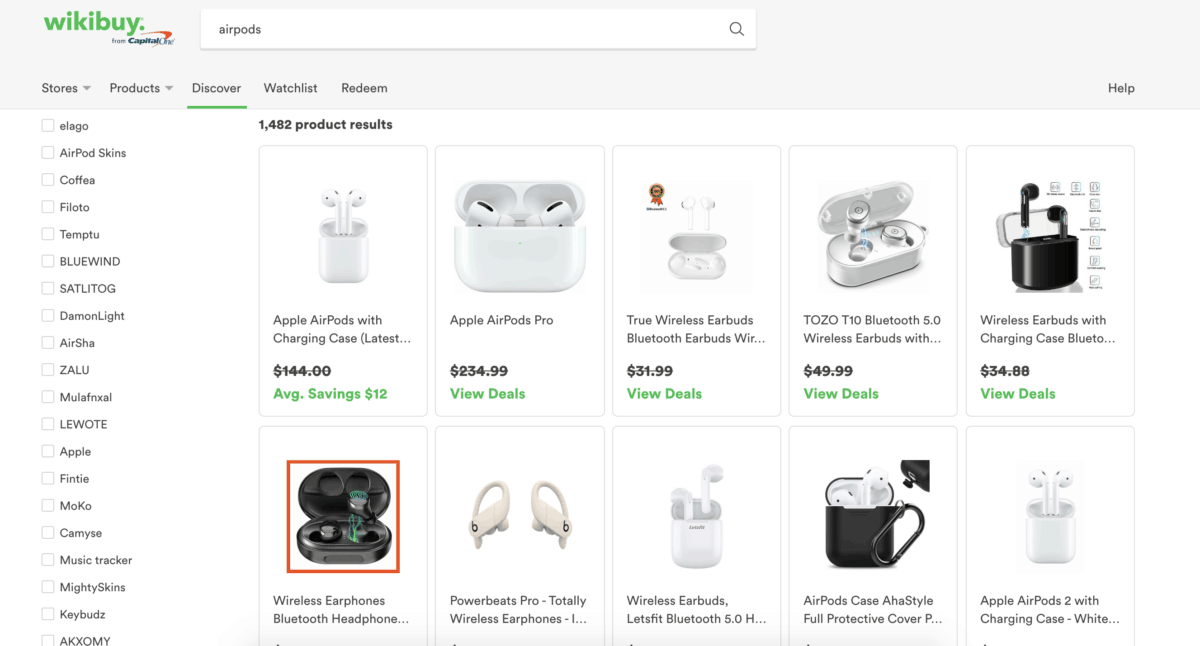 Wikibuy product search results