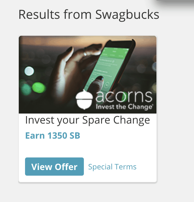 Bonus offer from Acorns when signing up through Swagbucks