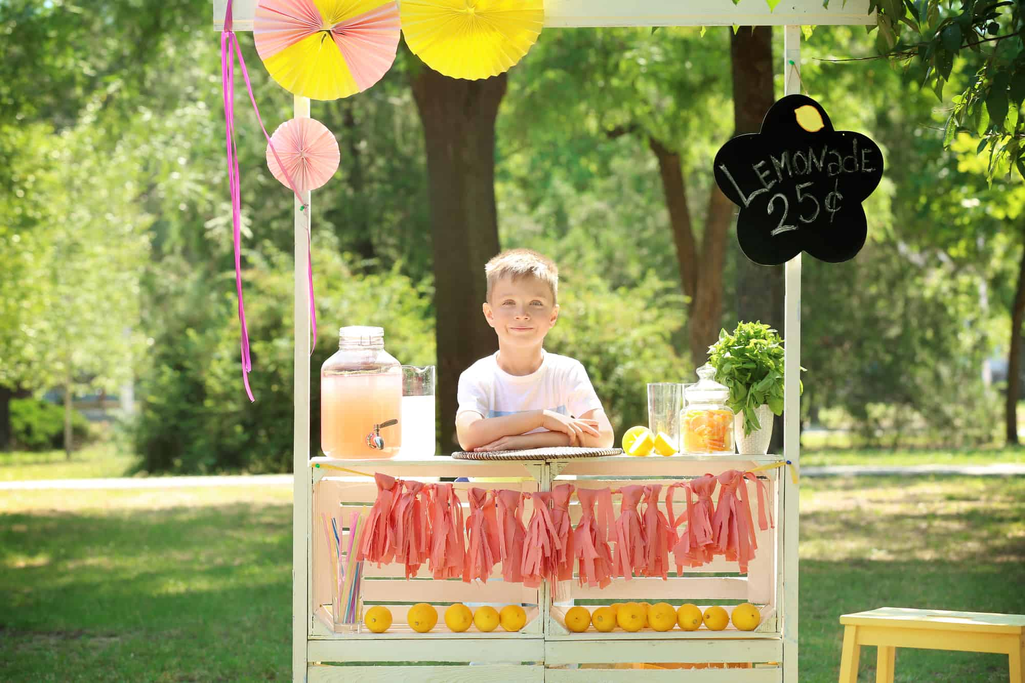 Little Boy Running a Lemonade Stand