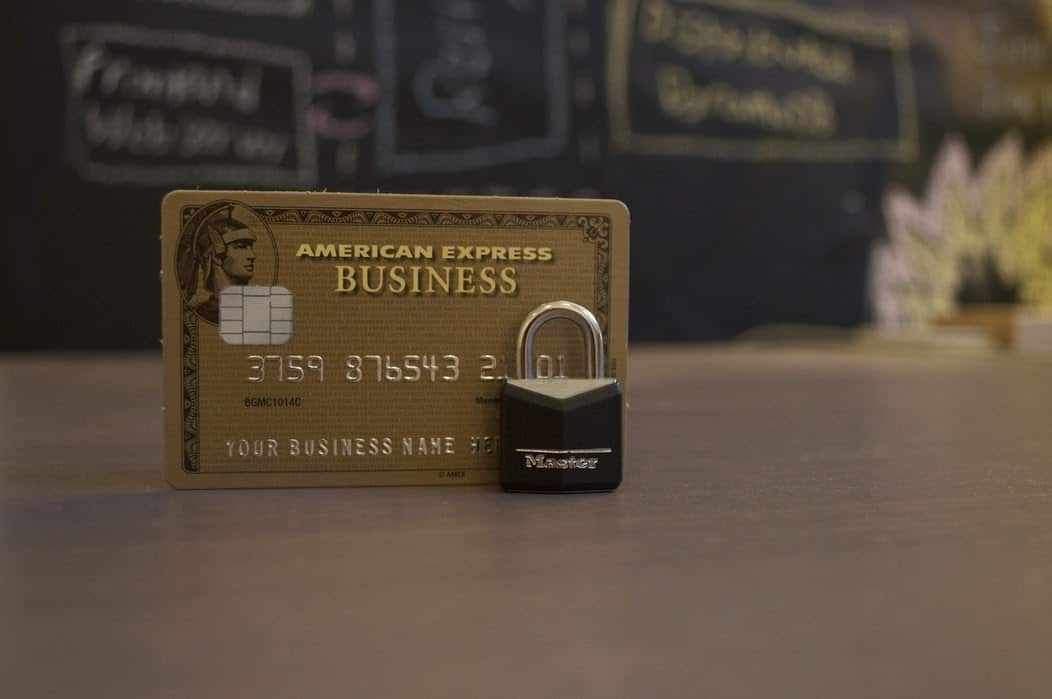 American Express business credit card with padlock next to it