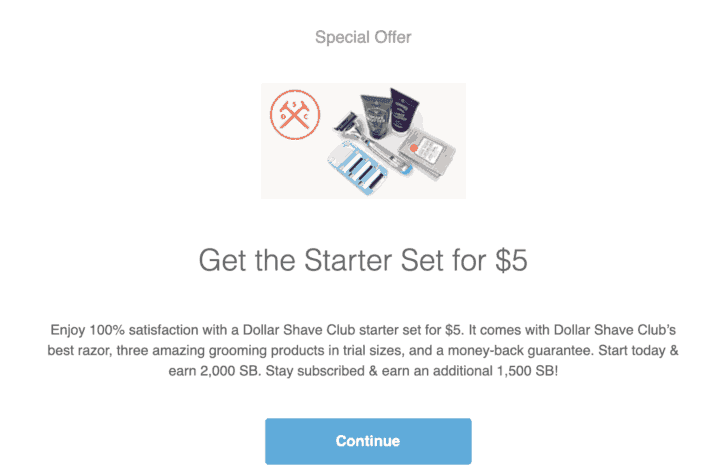 Dollar Shave Club offer on Swagbucks