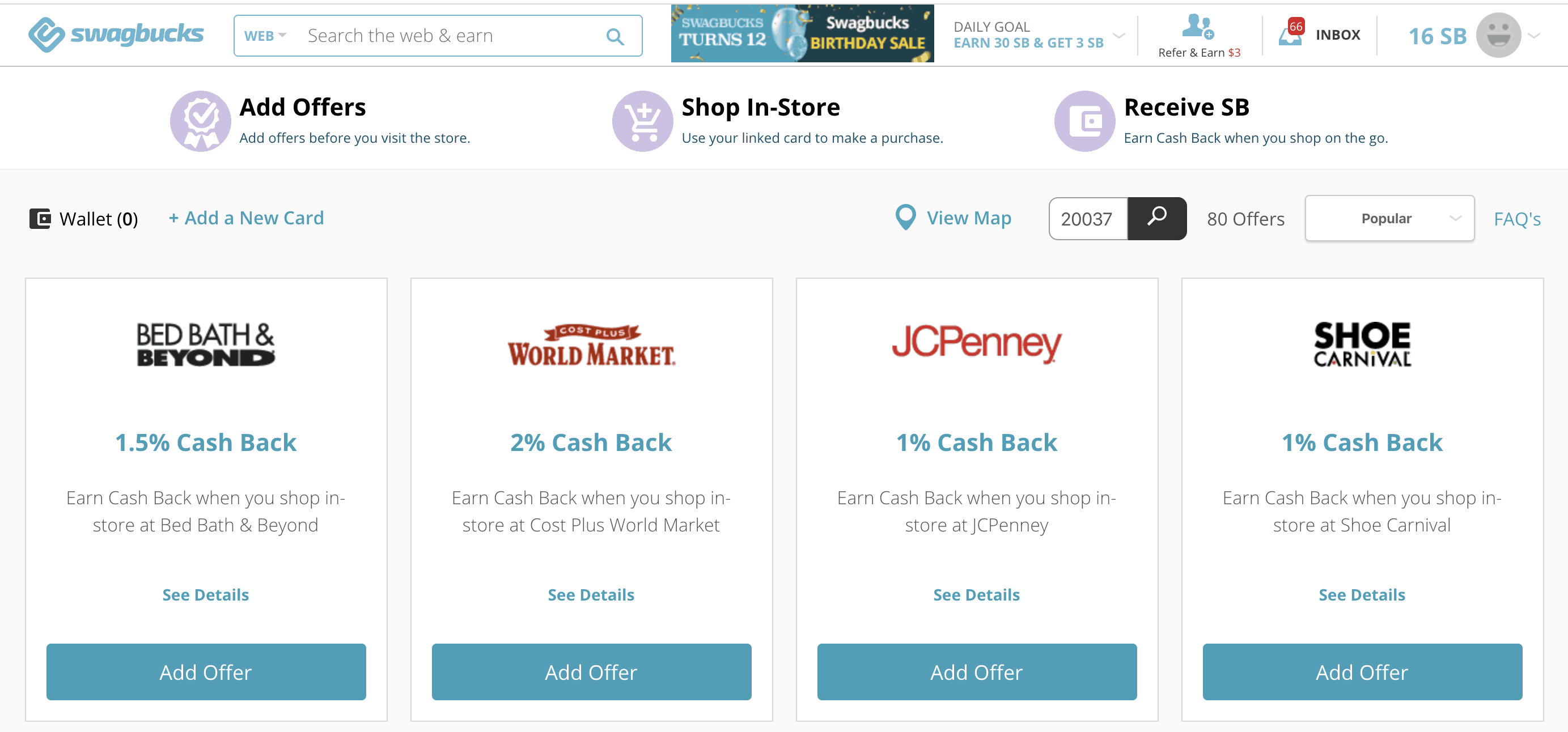 Swagbucks In-Store Offers