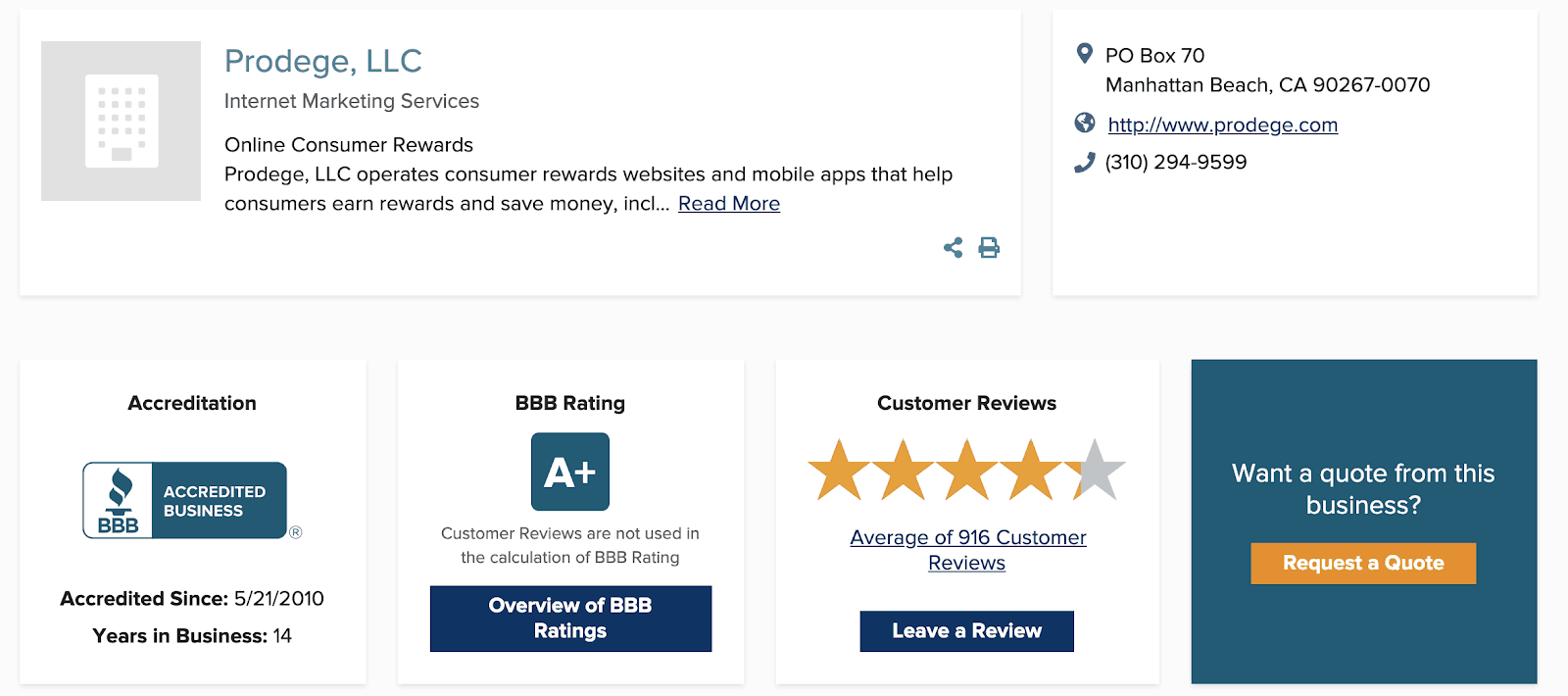 Swagbucks BBB Rating
