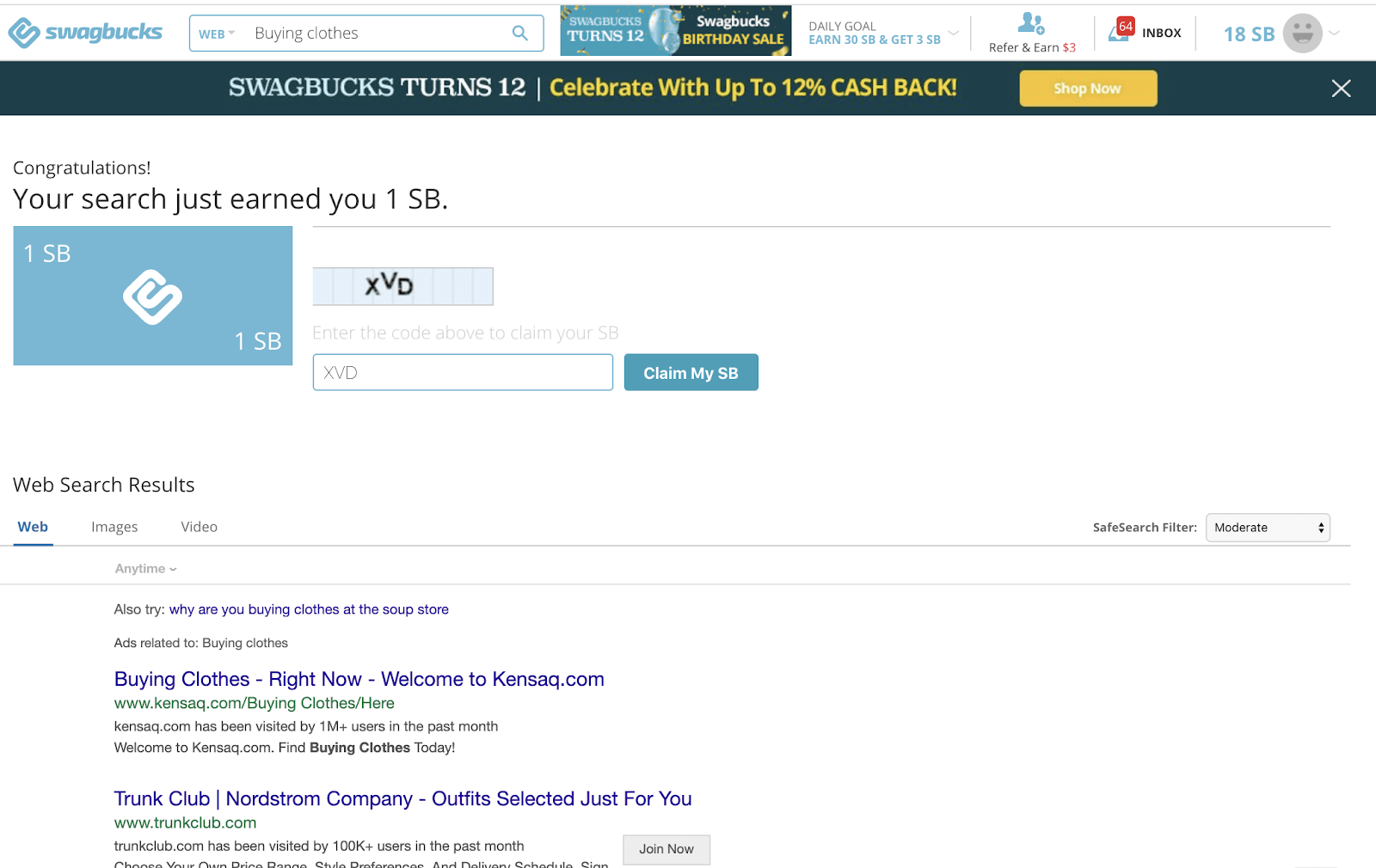 Swagbucks Search Win