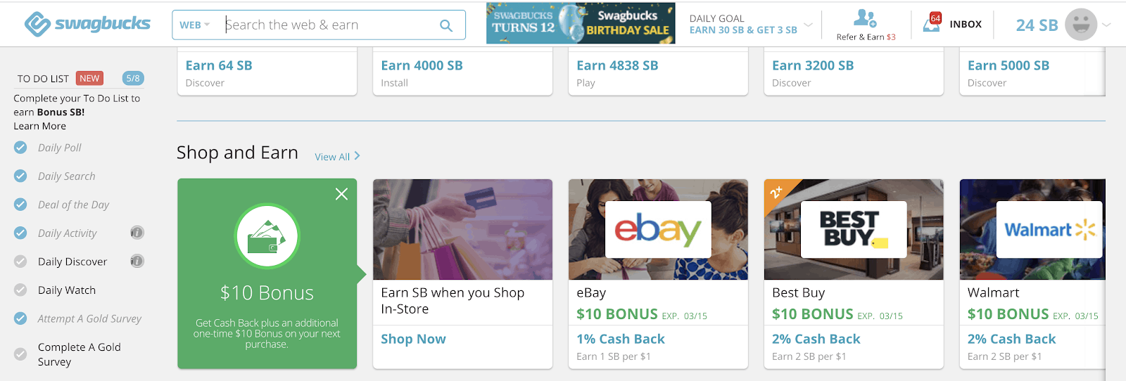 Swagbucks To Do