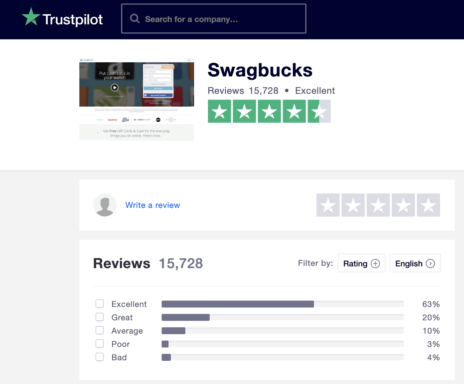 Swagbucks Trustpilot Rating