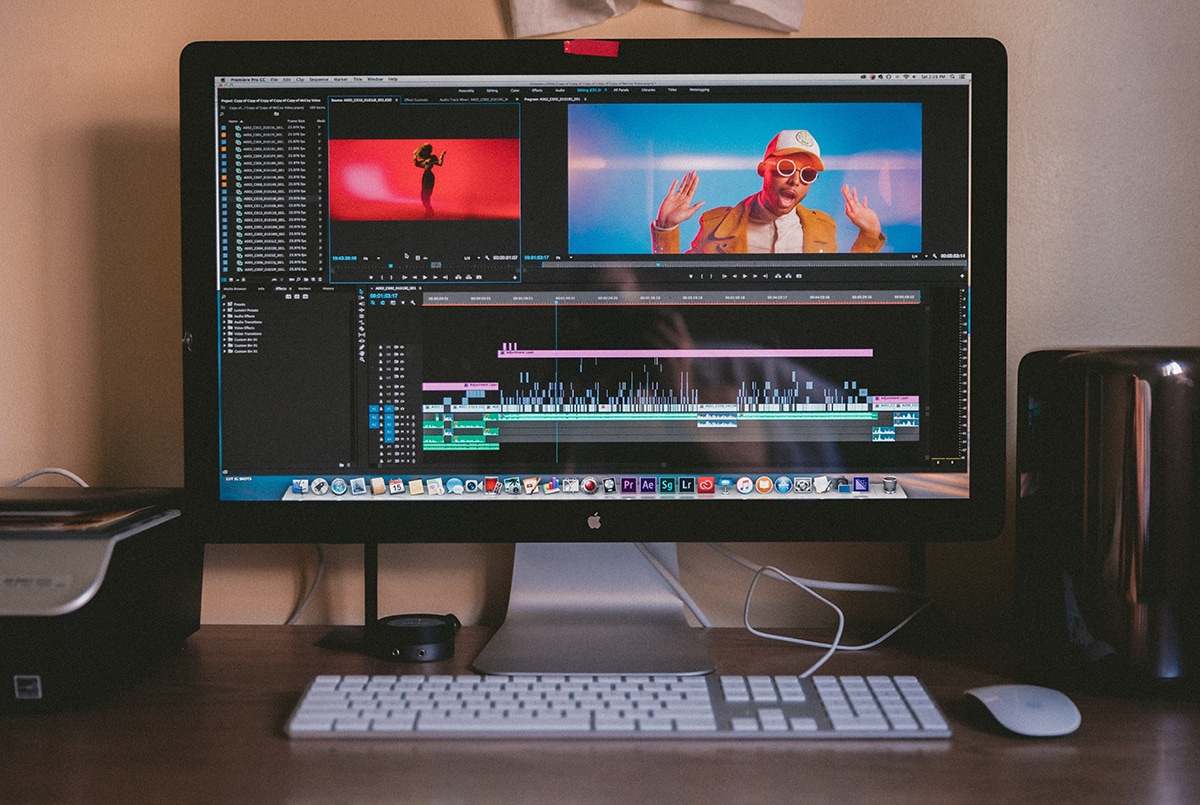 An iMac with video-editing software