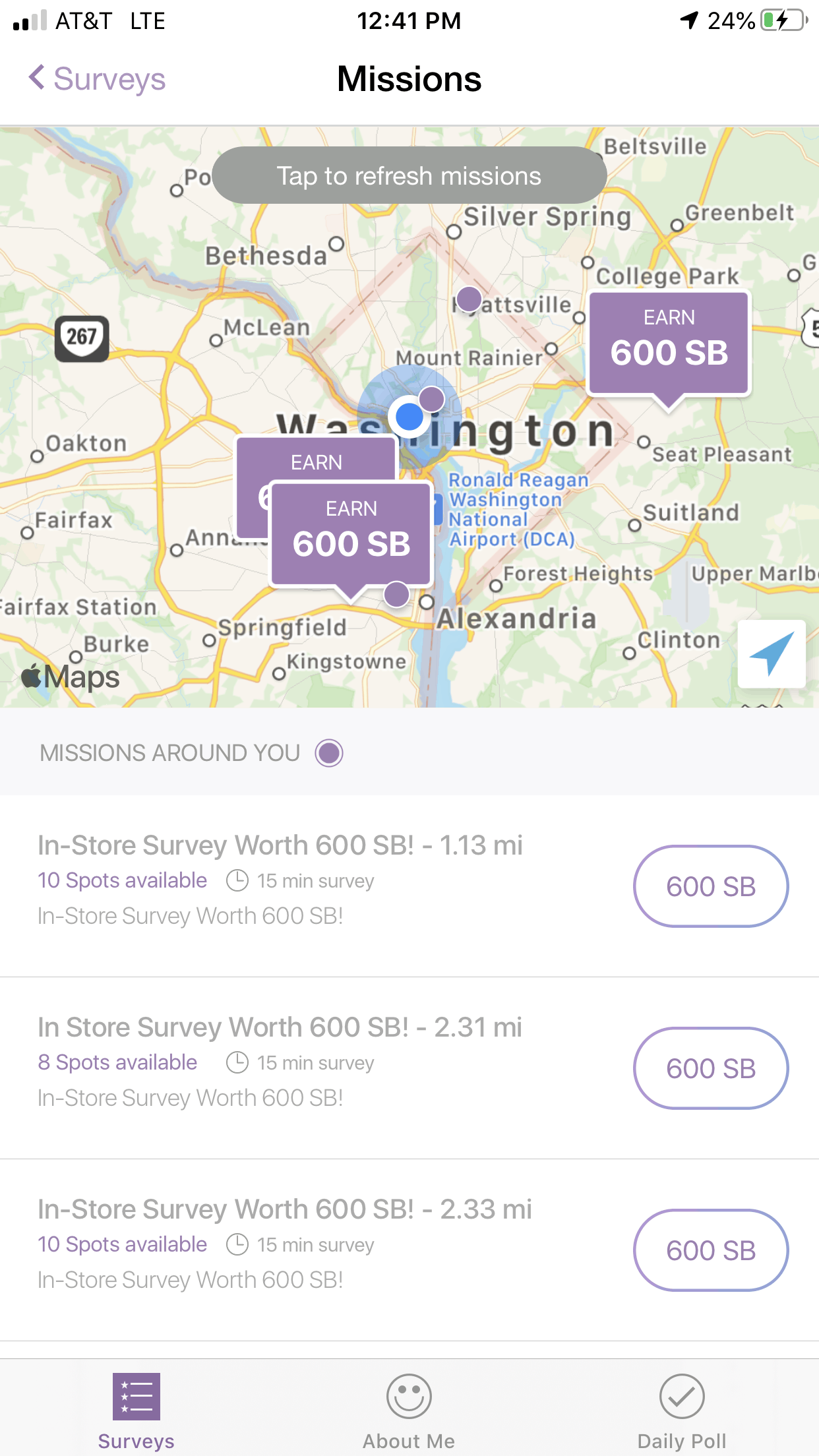 Swagbucks Missions — Map