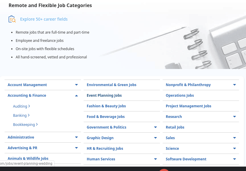 FlexJobs work categories