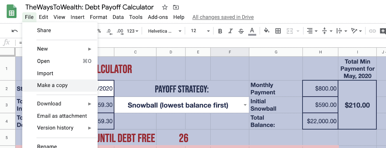 Debt Payoff Calculator Make a Copy