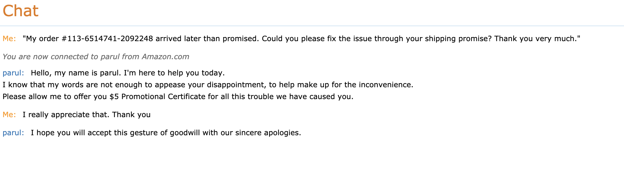 Paribus Late Delivery Amazon Support Chat