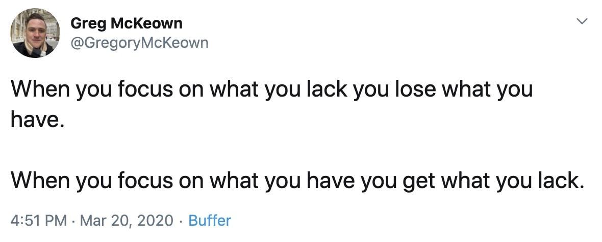 Greg McKeown Tweet