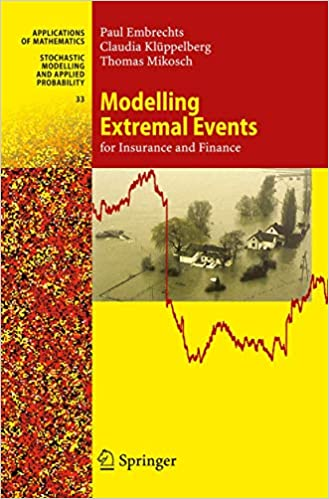 Modeling Extremal Events for Insurance and Finance, Book Cover, by Paul Embrechts, Claudia Kluppelberg and Thomas Mikosch