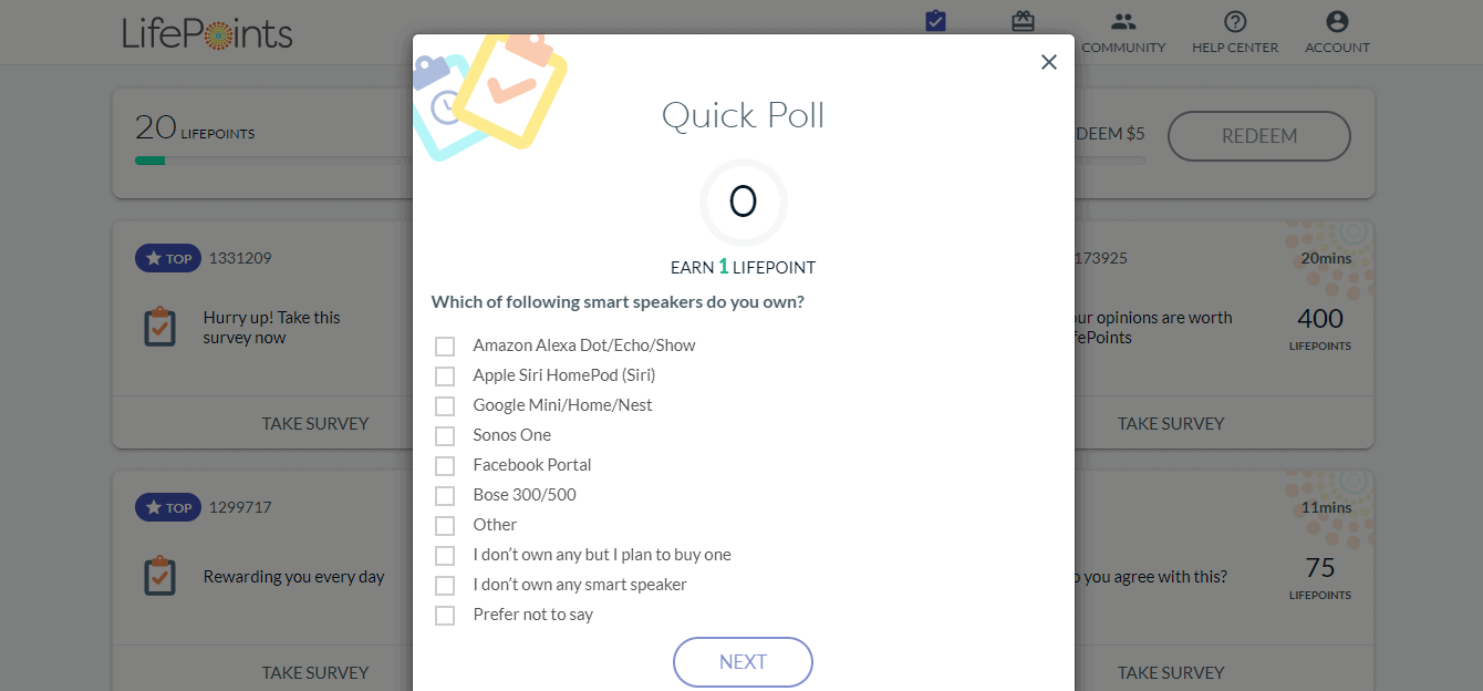 LifePoints quick poll